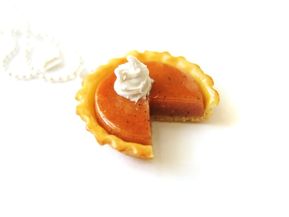 Thanksgiving Gift Polymer Clay Jewelry Pie Jewelry Pumpkin Pie Necklace Gift for Mom Miniature Food Necklace Mini Food Jewelry cute