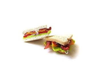 BLT Sandwich Charm, Polymer Clay Lunch Food Charm, Polymer Clay Sandwich, Miniature Food Jewelry, Bacon Sandwich