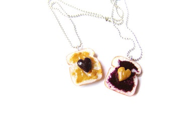 Peanut Butter and Grape Jelly BFF Necklaces, Polymer Clay Peanut Butter and Jelly Sandwiches, BFF Hearts Toast Charms, Best Friends Necklace