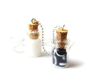 Cookies And Milk Best Friend Necklaces, Miniature Food Jewelry, Polymer Clay Food Friendship Necklaces, Oreo Cookie Inspired Necklace