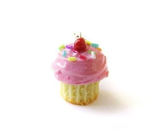Strawberry Pink Sprinkle Cupcake Charm - Miniature Food Jewelry - Sprinkle Frosted Cupcake Charm, Food Stitch Marker, Dessert Jewelry