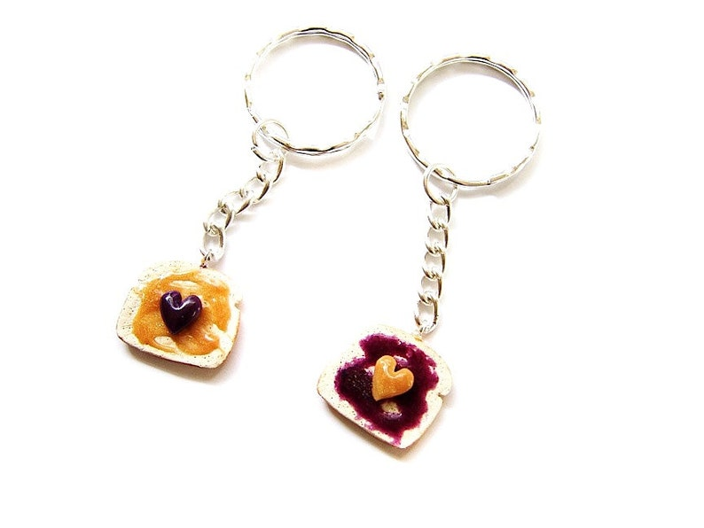 Peanut Butter and Grape Jelly Key Chains Polymer Clay Peanut image 0