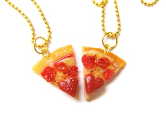 Heart Pizza Best Friend Necklaces, Miniature Food Jewelry, Polymer Clay Food Friendship Necklaces, Pepperoni Pizza Jewelry