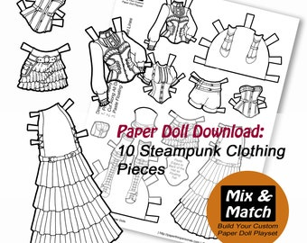 Paper Doll Fashion Coloring Page Paper Doll Download Etsy