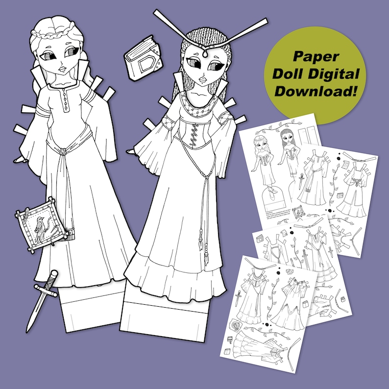 Printable Princess Paper Dolls Coloring Pages PDF Digital image 0
