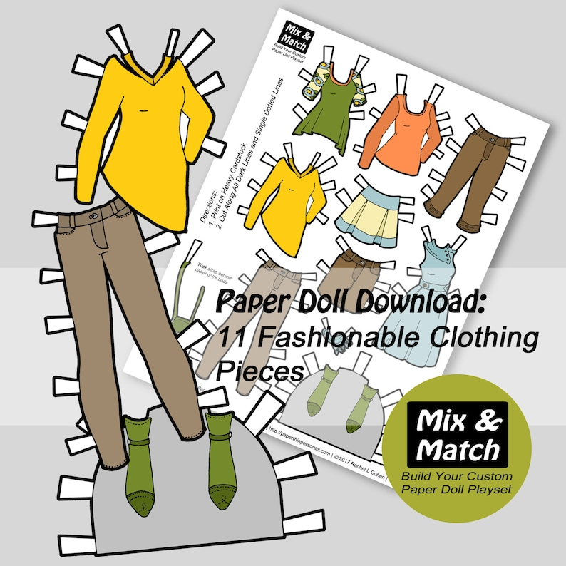graphic relating to Paper Doll Clothes Printable known as Electronic Doll Dresses Down load- Printable Little ones Craft- Doll Dresses in direction of Print- Progressive Doll Garments- Paper Craft for Kids