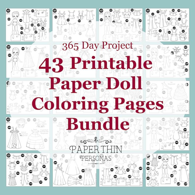 Super Mega Bundle of Paper Doll Coloring Pages Printable image 0