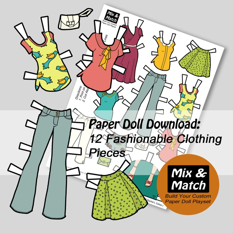 picture about Paper Doll Clothes Printable identified as Downloadable Paper Doll Dresses - Printable Small children Craft- Sbooking Printables- Type Woman Example- Homemade Doll Outfits