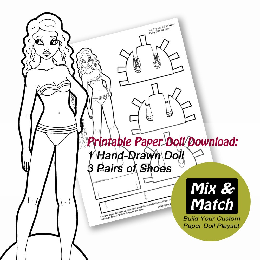 Paper Doll Coloring Page Printable Paper Dolls Dress Up Etsy