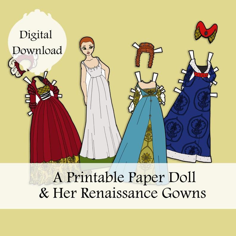 Renaissance Paper Doll Digital Paper Doll Clothing Download image 0