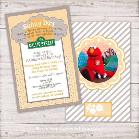 Sunny Day Party Invitation Design Sesame Street Inspired Birthday