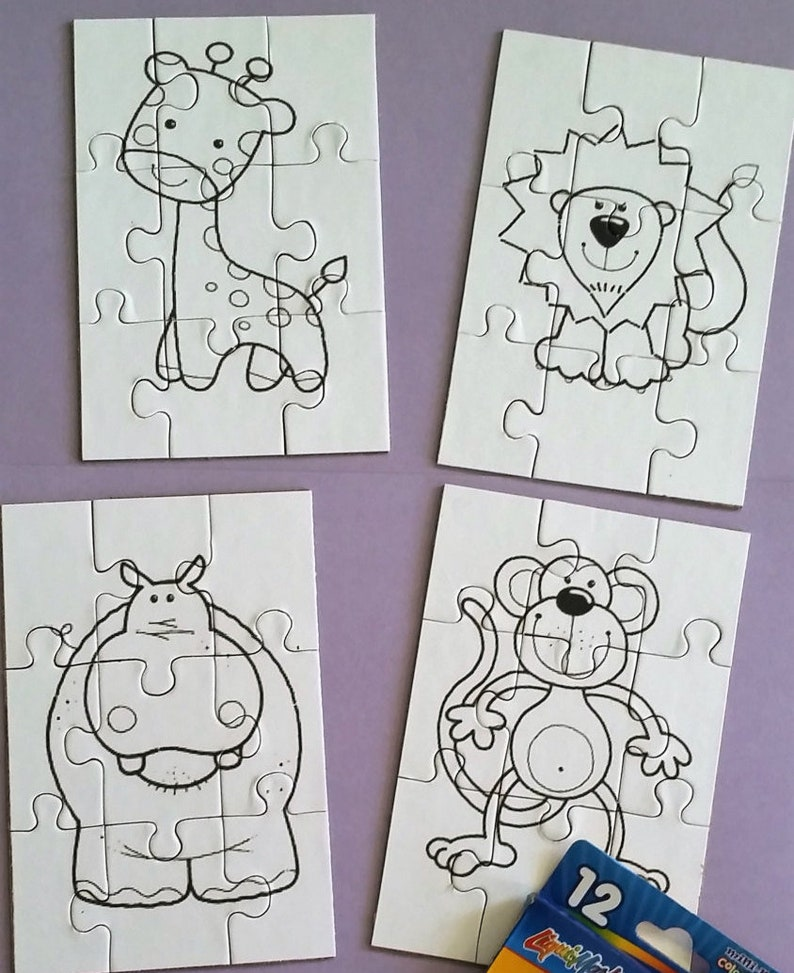 Kids coloring puzzle - Coloring pages - Animal Coloring puzzles - jigsaw  puzzle - Kids party favor - Giraffe Hippo Lion Monkey