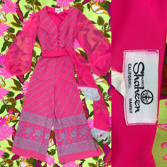 Alfred Shaheen hot pink jumpsuit, paisley print, b