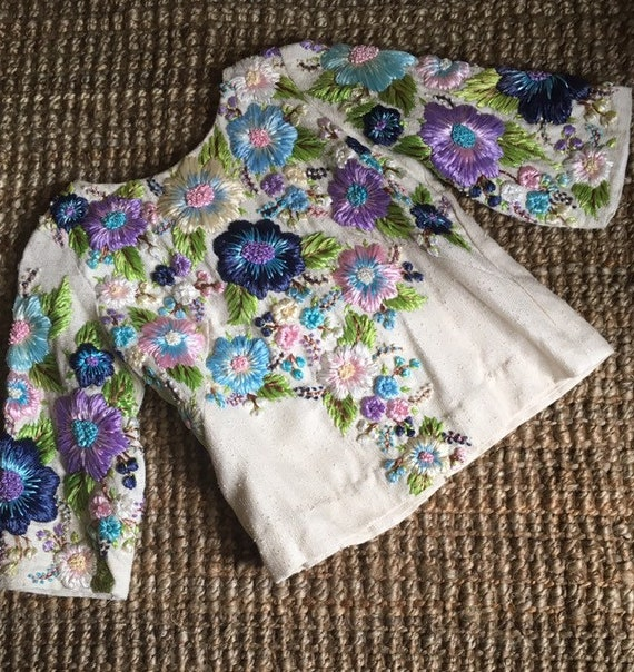1960s cardigan skirt set • RARE • raffia blue purp