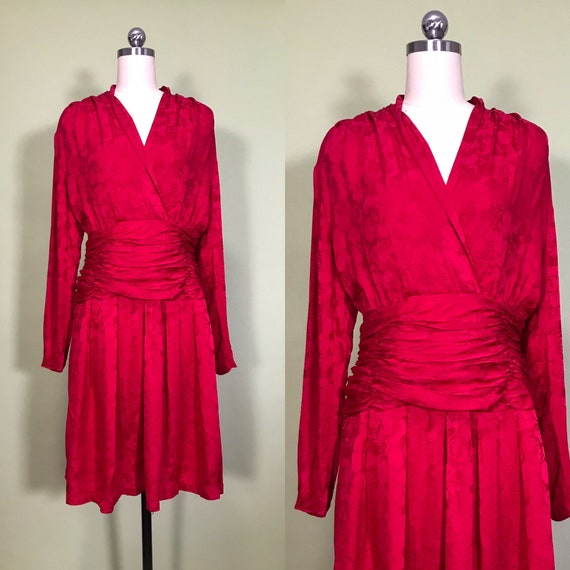 1980s red dress, rose brocade, ruched waist, long
