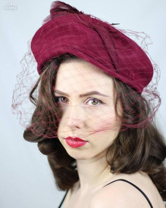 1940s hat • halo hat • burgundy • wool • veil • fe