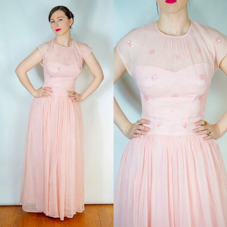 fcd5bfd7896 1940s pink dress pale pink evening dress star sequence