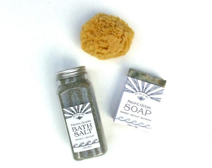 Pacific Ocean Soap, Bath Salt and Sea Sponge, San Diego beach bath set