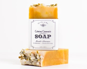 Chamomile Handmade Soap - Skin Softening Organic Cocoa Butter, turmeric, oatmeal, natural handcrafted calming soap bar for sensitive skin