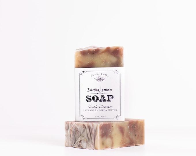 Lavender Handmade Soap Bar 4oz / organic cocoa butter to soften skin / handcrafted organic artisanal soap