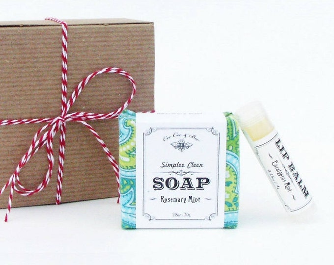 Rosemary Mint Gift Pack: Handmade Soap & Organic Lip Balm, refreshing gift for him