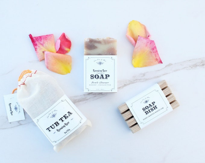 Rose Bath Set - Tub Tea + Handmade Soap Bar + Soap Dish