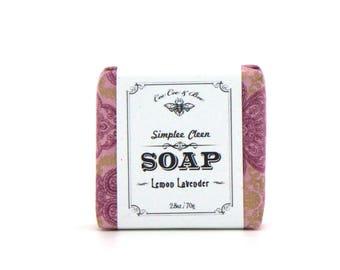 Lemon Lavender Soap, Simplee Cleen Soap Bar, 2.8oz /Handmade Vegan Soap / palm free soap