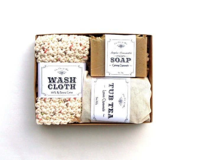 Chamomile Gift Set - Tub Tea + Soap + Washcloth