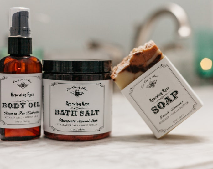 Rose Bath Set - Soap + Body Oil + Bath Salt