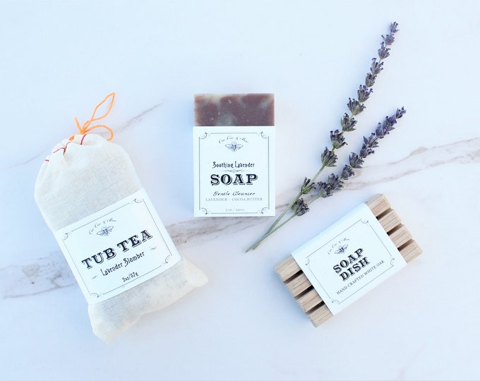 Lavender Gift Set - Tub Tea + Handmade Soap Bar + Soap Dish