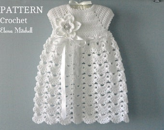 40960c29e76 Crochet PATTERN Baby Dress Baptism Dress Pattern Crochet Christening Dress  Newborn Outfit Baby Girl Clothes Crochet Baby Dress PATTERN PDF
