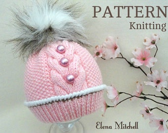 Knitting Pattern Baby Hat Patterns Baby Beanie Baby Boy Baby Girl Hat  Knitted Baby Hat Knitted Baby Beanie PomPom Hat Infant Hat Pattern PDF d4fed49f9c59