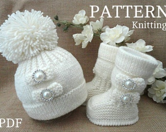 Knitting Pattern Baby Shoes Baby Booties Baby Hat Baby Beanie Etsy