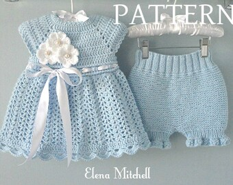 49372ad95415 Crochet PATTERN Baby Dress Knitting PATTERN Baby Bloomers Knitted Diaper  Cover Pattern Crocheted Baby Dress Pattern Baby Girl Outfit PDF