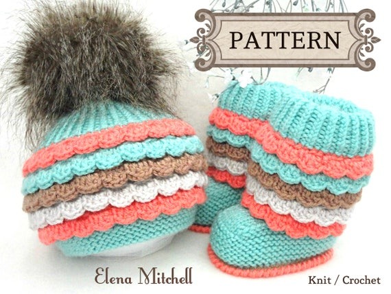 Knit Crochet Pattern Knitting Baby Booties Baby Hat Knitted Etsy