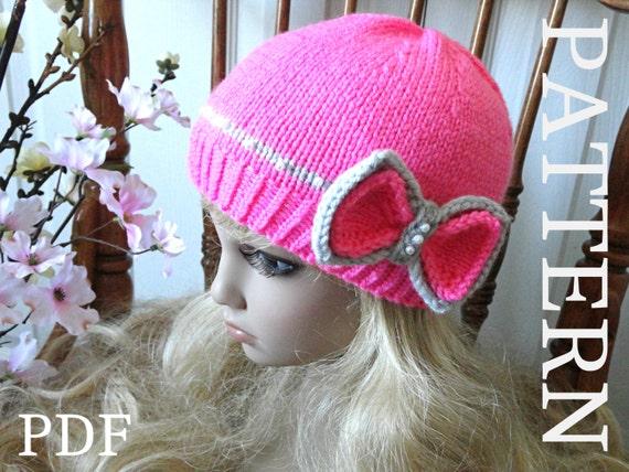 Knitting PATTERN Hat Knitted Girls Beanie Women Hat Pattern  0c2bab931b