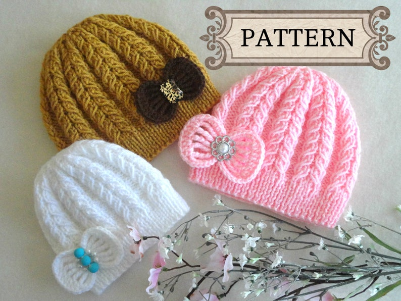 552858e915 Knitting PATTERN Baby Hat Baby Beanie Knitted Baby Girl Hat