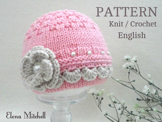 Knitting Pattern Baby Hat Baby Beanie Knitted Baby Girl Hat Etsy