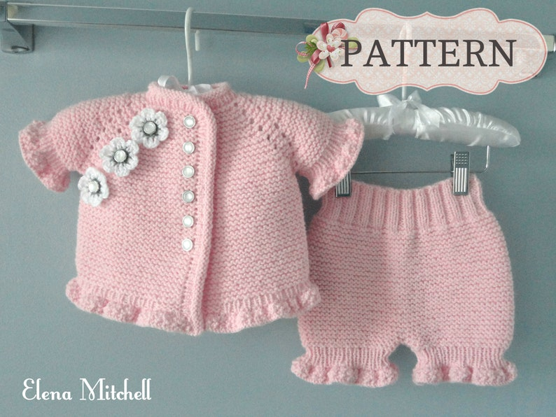 Knitting PATTERN Baby Girl Jacket Knitted Baby Bloomers Knitted Diaper Cover