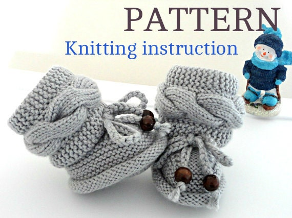 Knitting P A T T E R N Baby Booties Baby Shoes Knitted Baby Booties