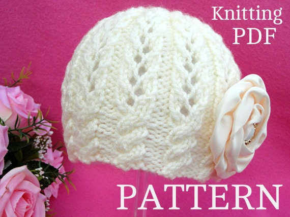 Knitting PATTERN Baby Girl Hat Beanie Knit Baby Hat Patterns  51f87c82713