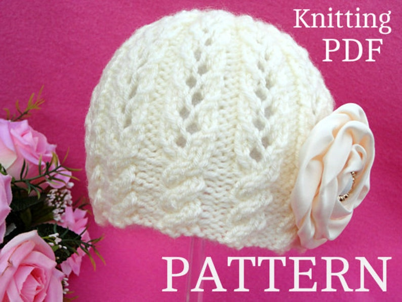 5c983224e Knitting PATTERN Baby Girl Hat Beanie Knit Baby Hat Patterns