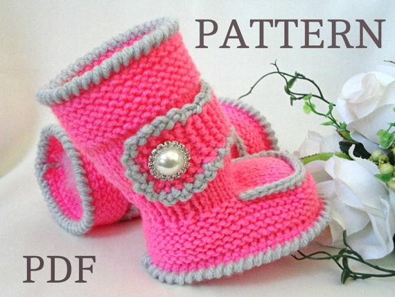 Knitting Pattern Baby Booties Baby Shoes Knitted Baby Uggs Etsy