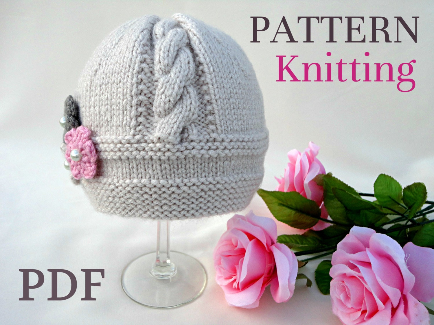 Knitting Pattern Baby Hat Baby Beanie Knit Pattern Infant Baby Girl ...
