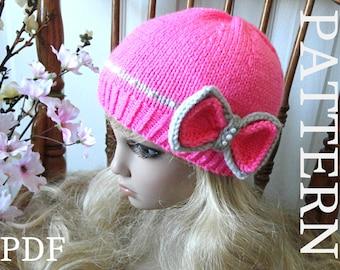 Knitting Pattern Hat Girl Pattern Knit Womens Hat Knitted Womens Hats Knit Hat Hand Knit Kids Hat Pattern Knit Kids Hat Winter Hat PDF file