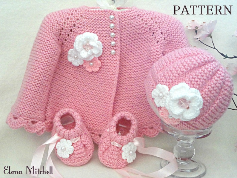 f64fd3f8745f Knitting PATTERN Baby Jacket Baby Cardigan Garter Stitch Baby
