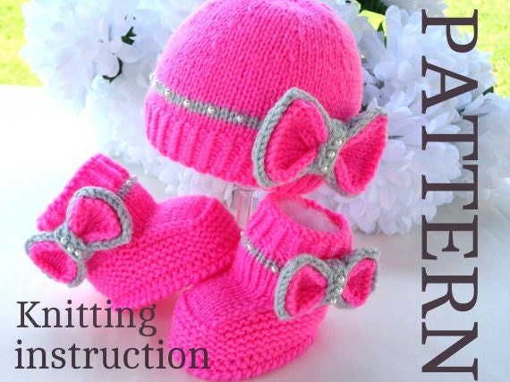Knitting Pattern Baby Girl Outfit Baby Booties Knitted Baby Etsy