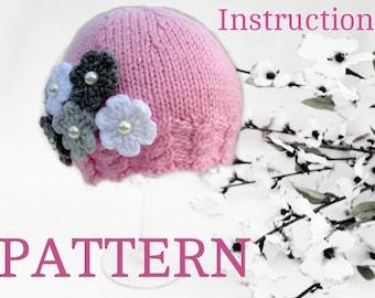 Knitting PATTERN Baby Hat Baby Girl Beanie Knitted Baby Cap Infant Pattern Newborn Girl Pattern Babies Hats Pattern Knit Baby Hat Pom-Pom