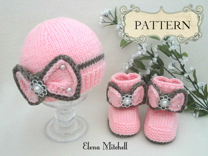 Knitting PATTERN Baby Girl Outfit Baby Booties Knitted baby image 0