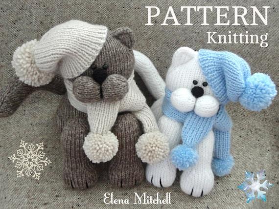 Knitting Pattern Animal Cat Toys Patterns Children Toy Etsy
